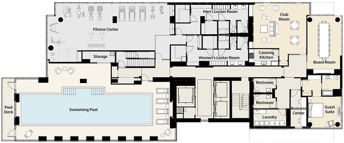 One Riverside amenities floor plan