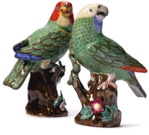 A pair of Meissen figures of parrots 18th century