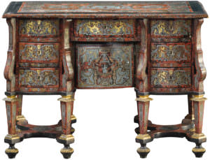 A Louis XIV ebony, pewter, brass and tortoiseshell Boulle marquetry bureau mazarin