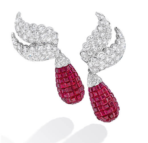 Barbara Sinatra diamond and ruby earrings